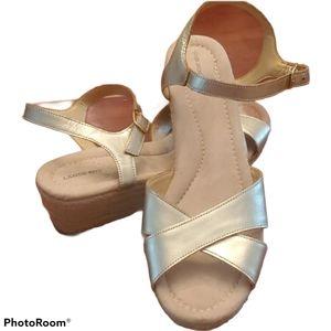 Lands' End Gold Espadrille Sandals